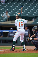 Edgar Michelangeli (16) of the Miami Hurricanes at bat against the Georgia Tech Yellow Jackets during game one of the 2017 ACC Baseball Championship at Louisville Slugger Field on May 23, 2017 in Louisville, Kentucky. The Hurricanes walked-off the Yellow Jackets 6-5 in 13 innings. (Brian Westerholt/Four Seam Images)