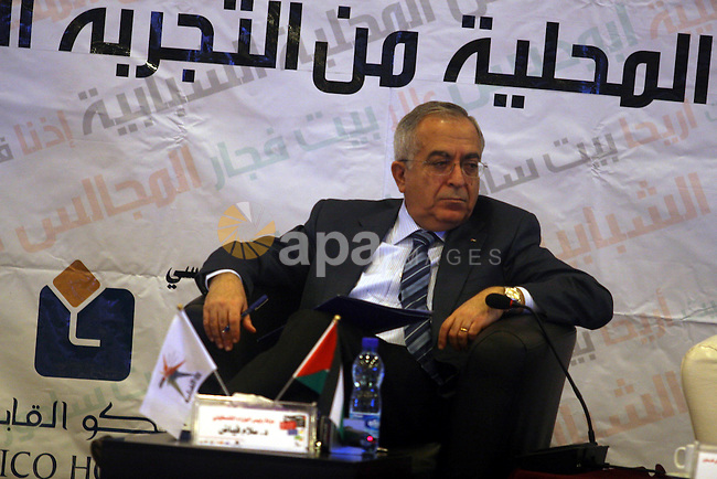 """Palestinian Prime Minister Salam Fayyad, participates in the """"Palestinian Youth Summit"""" in the West Bank city of Ramallah, March 07, 2012.  Photo by Issam Rimawi"""