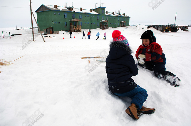 Children played in the settlement of Uelkal on the eastern coast of Chukotka. Uelkal, Chukotka Autonomous Okrug, Russia, April 3, 2007.