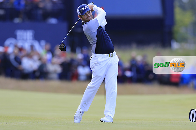 Louis Oosthuizen (RSA) tees off the 18th tee during Sunday's Round 3 of the 144th Open Championship, St Andrews Old Course, St Andrews, Fife, Scotland. 19/07/2015.<br /> Picture Eoin Clarke, www.golffile.ie
