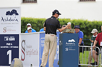 Jason Norris (AUS) examines the winners trophy on display at the 1st tee during Sunday's storm delayed Final Round 3 of the Andalucia Valderrama Masters 2018 hosted by the Sergio Foundation, held at Real Golf de Valderrama, Sotogrande, San Roque, Spain. 21st October 2018.<br /> Picture: Eoin Clarke | Golffile<br /> <br /> <br /> All photos usage must carry mandatory copyright credit (&copy; Golffile | Eoin Clarke)
