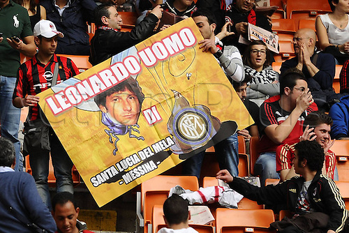 02 04 2011  Series A. AC Milan versus Inter Milan, Italy.  Photo shows banners waved by AC Milan supporters