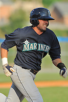 Pulaski Mariners second baseman Daniel Paolini #2 runs to first during  a  game  against the Kingsport Mets at Hunter Wright Stadium on August 9, 2011 in Kingsport, Tennessee. Kingsport won the game 2-1.   (Tony Farlow/Four Seam Images)
