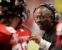 Texas Tech head coach Ruffin McNeill talks to a player during the second half of the Valero Alamo Bowl, Saturday, Jan. 2, 2010, at the Alamodome in San Antonio. Texas Tech won 41-31. (Darren Abate/pressphotointl.com)