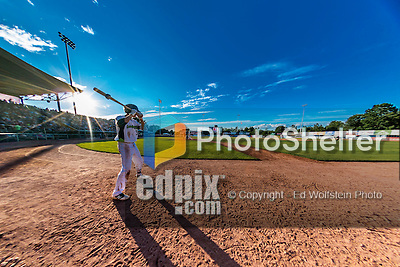 31 July 2016: Vermont Lake Monsters infielder Luke Persico stands on deck during a game against the Connecticut Tigers at Centennial Field in Burlington, Vermont. The Lake Monsters edged out the Tigers 4-3 in NY Penn League action.  Mandatory Credit: Ed Wolfstein Photo *** RAW (NEF) Image File Available ***