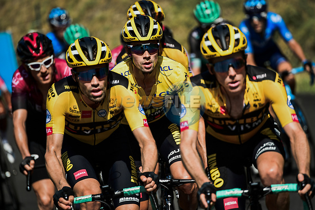 The remains of the peloton with Steven Kruijswijk, Tom Dumoulin (NED) and race leader Primoz Roglic (SLO) Team Jumbo-Visma on the front on the final climb to Saint-Martin-de-Belleville during Stage 3 of Criterium du Dauphine 2020, running 157km from Corenc to Saint-Martin-de-Belleville, France. 14th August 2020.<br /> Picture: ASO/Alex Broadway | Cyclefile<br /> All photos usage must carry mandatory copyright credit (© Cyclefile | ASO/Alex Broadway)