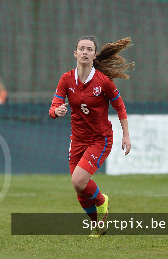 20160319 - FLERS , FRANCE : Czech Natalie Kavalova pictured during the soccer match between the women under 17 teams of  France and the Czech Republic , on the first matchday in group 3 of the UEFA Women Under17 Elite rounds at Stade du Haze in Flers , France . Saturday 19th March 2016 . PHOTO DAVID CATRY