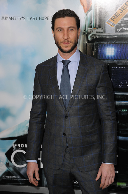 WWW.ACEPIXS.COM<br /> March 4, 2015 New York City<br /> <br /> Pablo Schreiber attending the 'Chappie' New York Premiere at AMC Lincoln Square Theater on March 4, 2015 in New York City.<br /> <br /> Please byline: Kristin Callahan/AcePictures<br /> <br /> ACEPIXS.COM<br /> <br /> Tel: (646) 769 0430<br /> e-mail: info@acepixs.com<br /> web: http://www.acepixs.com