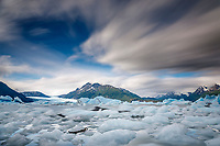 Summer landscape of Ice bergs in Inner Lake George with Colony Glacier and clouds above.  Long Exposure                                 Photo by Jeff Schultz/SchultzPhoto.com  (C) 2018  ALL RIGHTS RESERVED<br /> <br /> Bill Daly Photo Tour July 2018
