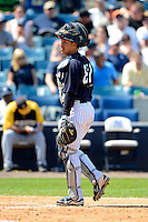 New York Yankees catcher Francisco Arcia #87 during a Spring Training game against the Pittsburgh Pirates at Legends Field on March 28, 2013 in Tampa, Florida.  (Mike Janes/Four Seam Images)
