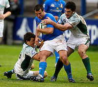 Photo: Richard Lane/Richard Lane Photography. Ireland U20 v Italy U20. Semi Final. 18/06/2008. Italy's Carlo Vannini is tackled by the Ireland defence.