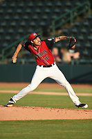 Hickory Crawdads starting pitcher Hans Crouse (10) in action during a game against the West Virginia Power at L.P. Frans Stadium on July 25, 2019 in Hickory, North Carolina. The Power defeated the Crawdads 3-2. (Tracy Proffitt/Four Seam Images)