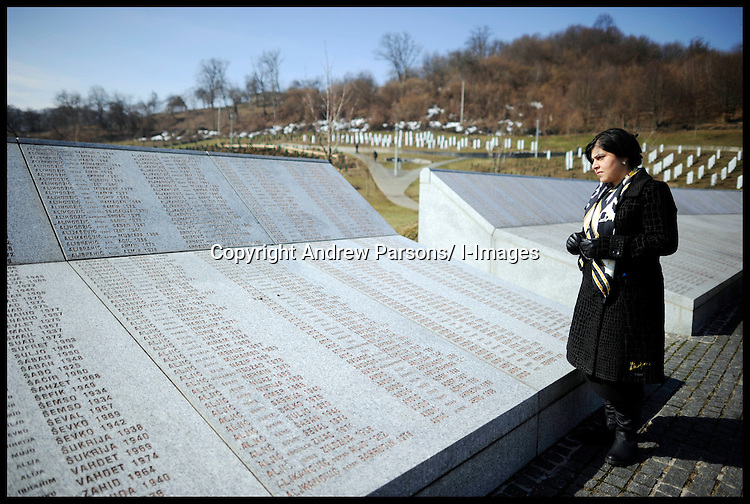 Baroness Warsi visits the Potocari Memorial Centre, Srebrenica, to honour the victims of the Srebrenica Massacre. She reads the names of the victims and along with her parliamentary colleagues she reflects, as part of Project Maja in Bosnia and Herzegovina, Sunday March 4, 2012 . Photo By Andrew Parsons/i-images