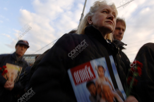 Mourners came to pay tribute to Boris Yelstin, Russia's first elected president, many bringing flowers and some carrying portraits from magazines, as he lay in state at Christ the Saviour Cathedral. April 24, 2007, Moscow, Russia