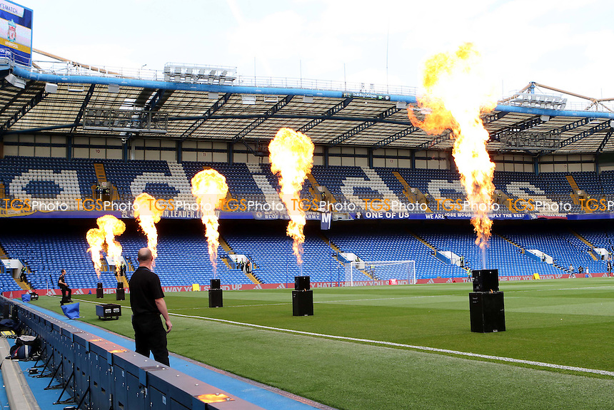The flames of fire being tested to mark Chelsea's success as League Champions prior to the fans arriving. These will be used as the players enter the field of play - Chelsea vs Liverpool - Barclays Premier League Football at Stamford Bridge, London - 10/05/15 - MANDATORY CREDIT: Paul Dennis/TGSPHOTO - Self billing applies where appropriate - contact@tgsphoto.co.uk - NO UNPAID USE