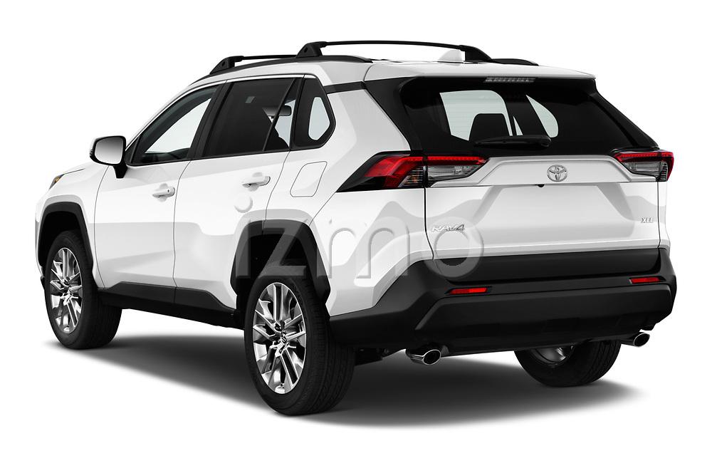 Car pictures of rear three quarter view of a 2019 Toyota RAV4 XLE Premium 5 Door SUV angular rear