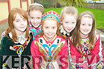 Costume colours: Some of the dancers attending the Jimmy Hickey School of Dance Feis at Scoil Realta na Maidne, Listowel on Sunday were Nikita Murphy, Edel Quinn, Mirna Wall, Sarah Stack and Rachel McKenna.