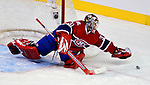 17 October 2009: Montreal Canadiens goaltender Carey Price keeps reaches out to grab a rebound in the third period against the Ottawa Senators at the Bell Centre in Montreal, Quebec, Canada. The Senators defeated the Canadiens 3-1. Mandatory Credit: Ed Wolfstein Photo