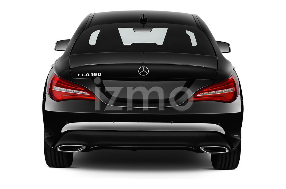 Straight rear view of a 2018 Mercedes Benz CLA Coupe Business Solution 4 Door Sedan stock images