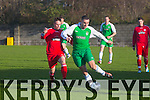 In Action Cork's Ger Rice and Kerry's Con Barrett  the Oscar Traynor Cup Group 4 match Kerry DL against Cork in Mounthawk Park on Sunday
