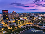 photo of Dayton Ohio skyline at dusk. Downtown Dayton.