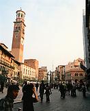 ITALY, Verona, crowd walking outside Piazza Delle Erbe