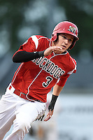Batavia Muckdogs outfielder Ryan Aper (3) running the bases during a game against the Mahoning Valley Scrappers on June 20, 2014 at Dwyer Stadium in Batavia, New York.  Batavia defeated Mahoning Valley 7-4.  (Mike Janes/Four Seam Images)