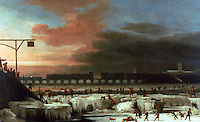 "London:  ""Frozen Thames"" oil painting by Abraham Hondius, 1677.  Museum of London, Late Stuart.  Reference only."