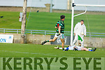 St Brendans Jack Barry find the net after his run upfield to  deceive Shannon Rangers keeper Darragh Ó Sé in the County Football Championship 3rd round on Saturday.