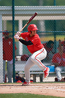 Philadelphia Phillies Rafael Marchan (6) during a minor league Spring Training game against the Pittsburgh Pirates on March 13, 2019 at Pirate City in Bradenton, Florida.  (Mike Janes/Four Seam Images)