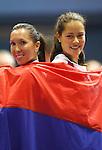 Tenis, Fed Cup, play off world group B.Croatia Vs. Serbia.Ana Ivanovic Vs. Nika Ozegovic.Ana Ivanovic, right and Jelena Jankovic .Zagreb, 27.04.2008..Srdjan Stevanovic