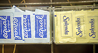 Packets of Equal and Splenda in a coffee bar in New York on Sunday, February 28, 2016.  Artificial sweeteners use different chemicals to enhance your coffee's taste without the calories of sugar.  (© Richard B. Levine)