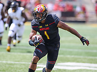College Park, MD - September 9, 2017: Maryland Terrapins wide receiver D.J. Moore (1) in action during game between Towson and Maryland at  Capital One Field at Maryland Stadium in College Park, MD.  (Photo by Elliott Brown/Media Images International)