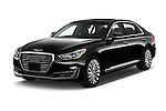 2018 Genesis G90 Ultimate 4 Door Sedan Angular Front stock photos of front three quarter view