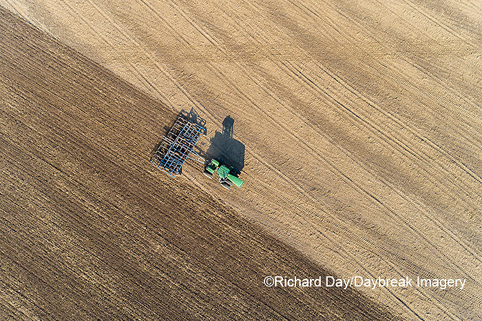 63801-11720 Tilling field after soybean harvest-aerial Marion Co.  IL