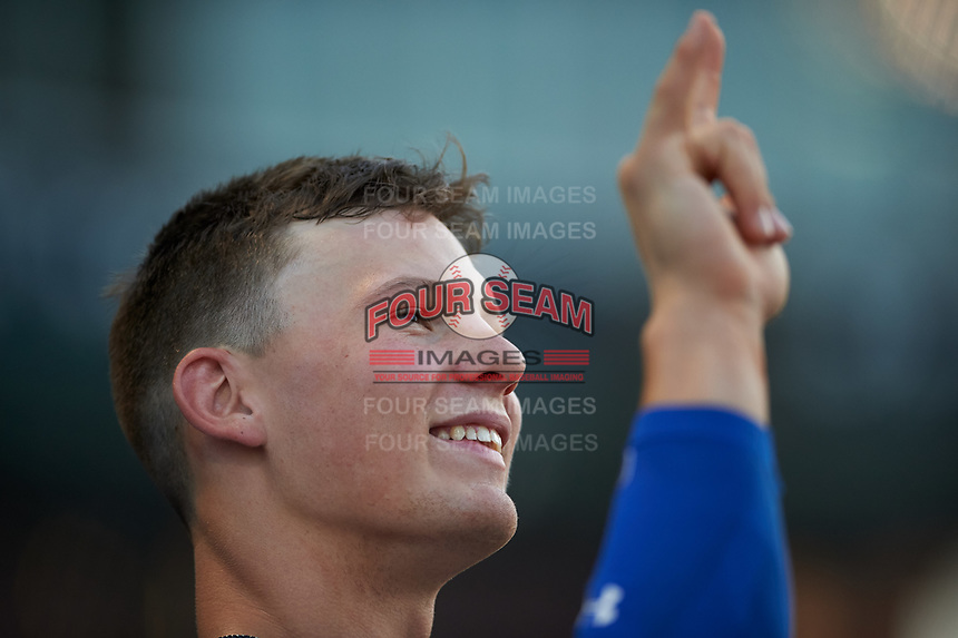 AZL Royals Bobby Witt, Jr. (17) during an Arizona League game against the AZL Cubs 1 on June 30, 2019 at Sloan Park in Mesa, Arizona. AZL Royals defeated the AZL Cubs 1 9-5. (Zachary Lucy / Four Seam Images)