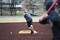 Hayden Brewer, 14, of Bentonville throws a pitch, Monday, March 16, 2020 during a baseball game at the Memorial Park ball field in Bentonville. Check out nwaonline.com/200317Daily/ for today's photo gallery.<br /> (NWA Democrat-Gazette/Charlie Kaijo)