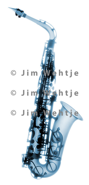 X-ray image of an alto saxophone (blue on white) by Jim Wehtje, specialist in x-ray art and design images.