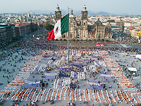 Drone photos of the Day of the Dead instalation nad parade in the Zocalo 2017, Mexico City, Mexico