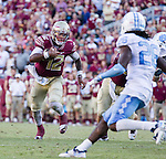 Florida State quarterback Deondre Francois (12) scrambles in the second half of an NCAA college football game against North Carolina in Tallahassee, Fla., Saturday, Oct. 1, 2016. North Carolina defeated Florida State 37-35 on a field goal. (AP Photo/Mark Wallheiser)