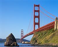 Golden Gate National Recreation Area, CA<br /> Morning sun on the Goldengate Bridge from Fort Baker