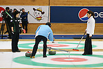 (L to R) Yumie Funayama (Fortius), Miyo Ichikawa (Chuden), SEPTEMBER 16, 2013 - Curling : Olympic qualifying Japan Curling Championships Women's Final first Mach between Chuden 7-6 Fortius at Dogin Curling Studium, Sapporo, Hokkaido, Japan. (Photo by Yusuke Nakanishi/AFLO SPORT)