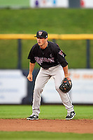 Wisconsin Timber Rattlers shortstop Blake Allemand (6) during the first game of a doubleheader against the Quad Cities River Bandits on August 19, 2015 at Modern Woodmen Park in Davenport, Iowa.  Quad Cities defeated Wisconsin 3-2.  (Mike Janes/Four Seam Images)
