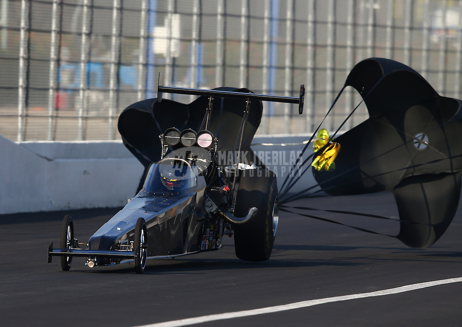 Feb 8, 2014; Pomona, CA, USA; NHRA top alcohol dragster driver Joey Severance during qualifying for the Winternationals at Auto Club Raceway at Pomona. Mandatory Credit: Mark J. Rebilas-