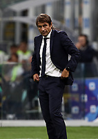 Calcio, Serie A: Inter Milano - Lecce, Giuseppe Meazza stadium, September 26 agosto 2019.<br /> Inter's coach Antonio Conte looks on during the Italian Serie A football match between Inter and Lecce at Giuseppe Meazza (San Siro) stadium, September August 26,, 2019.<br /> UPDATE IMAGES PRESS/Isabella Bonotto