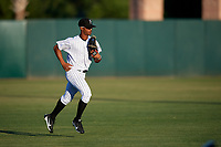 Florida Fire Frogs center fielder Ray-Patrick Didder (11) jogs back to the dugout during a game against the Dunedin Blue Jays on April 10, 2017 at Osceola County Stadium in Kissimmee, Florida.  Florida defeated Dunedin 4-0.  (Mike Janes/Four Seam Images)