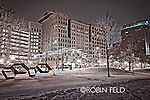 Dave Hall Plaze on winter night, Dayton Ohio