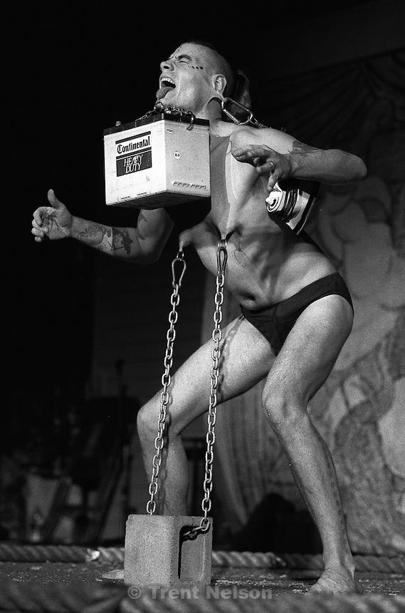Mr. Lifto during the Jim Rose Circus at Brick's.