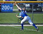 Freeburg leftfielder Maddie Mense catches the ball for the out. Breese Central High School played at Freeburg High School on Tuesday May 1, 2018. Tim Vizer | Special to STLhighschoolsports.com