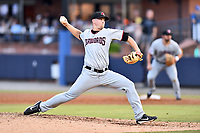 Hickory Crawdads starting pitcher Reid Anderson (6) delivers a pitch during a game against the Asheville Tourists at McCormick Field on July 13, 2017 in Asheville, North Carolina. The Tourists defeated the Crawdads 9-4. (Tony Farlow/Four Seam Images)